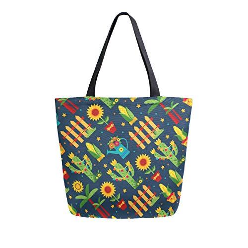 Mnsruu Bolsa de comestibles para mujer con diseño de cactus y girasoles, bolso de mano grande y casual, bolsa reutilizable para ir de compras, ir al gimnasio