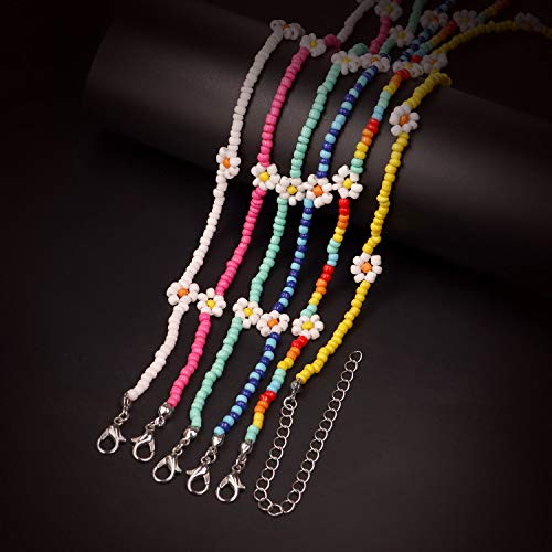 GYSONG Beaded Choker Necklaces For Women Vsco Boho Handmade Flower Necklace Cute Necklace For Teen Girls Beach Necklace Set 6 Pieces