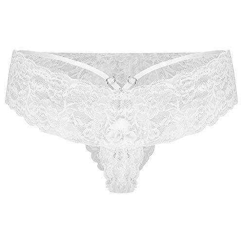 ZHANSANFM Tanga und T Slips Damen Strings Set mit Spitze Netz Transparent Atmungsaktiv Unterhosen Frauen Sexy Erotische Unterwäsche Dessous Thong Hipster Bikini Panty Underwear (L, Weiß)