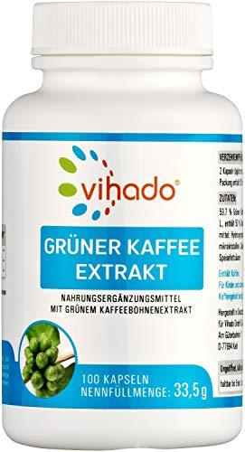 Vihado Grüner Kaffee Extrakt - reine grüne Kaffeebohnen, 100 Kapseln, 1er Pack (1 x 34 g)