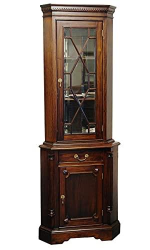 Eckschrank Eckvitrine Schrank Massivholz Nussbaumfarbton Antik Stil B75cm (1357)