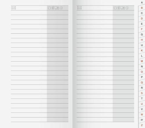 Brunnen 1070048 Adress-Registerheft Blattgröße 8,7 x 15,3 cm · 48 Seiten Karton-Umschlag mit 24-teiligem Registerschnitt A-Z laminierte Tabs schwarz