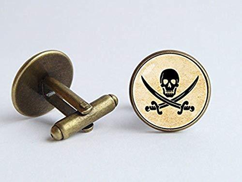 Pirate Boutons de manchette Tête de mort Boutons de manchette Drapeau de pirate Boutons de manchette Mer Bijoux