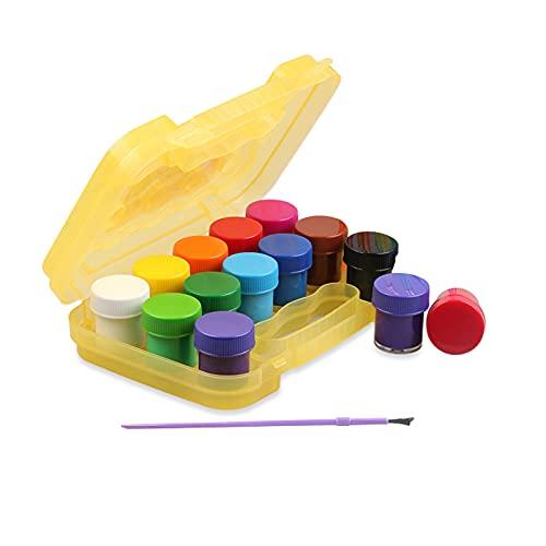 Zwbfu Pintura De Dedos,Juego de pinturas para dedos de 12 colores 15 ml cada botella Pinturas lavables no tóxicas con pincel Suministros de arte