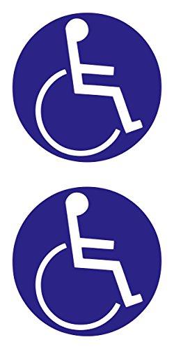 carstyling XXL Aufkleber Behinderten-Symbol 2er-Set blau ~ schneller Versand innerhalb 24 Stunden ~