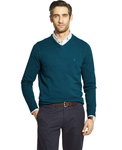 IZOD Men's Premium Essentials Solid V-Neck 7 Gauge Sweater, LYONS BLUE, Small