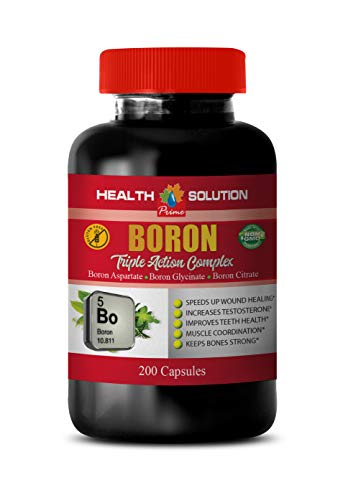 Mental Focus and Memory - Boron Triple Action Complex - Non GMO - Boron Supplement Testosterone - 1 Bottle 200 Capsules