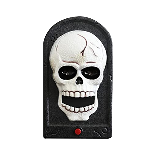 Timbre de Halloween, efecto de sonido de botón de calavera grande, decoración de barra de habitación secreta de casa embrujada, accesorios de timbre de marco de fotos