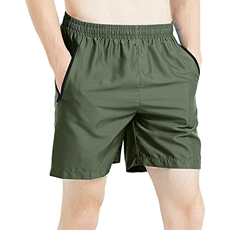 MADHERO Men Swim Trunks with Zipper Pockets Quick Dry Bathing Suits Mesh Lining,Army Green,Size L