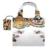 Bolsa de viaje de lona, abeja, tigre, serpiente, tigre, flores, parche, bolsa de compras, bolsas de supermercado reutilizables, bolsas de compras reutilizables de poliéster, lavables, duraderas y l