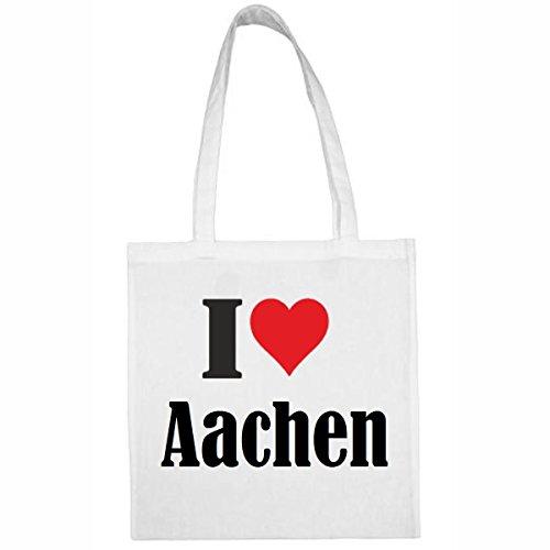 Tasche I Love Aachen Größe 38x42 Farbe Weiss Druck Schwarz