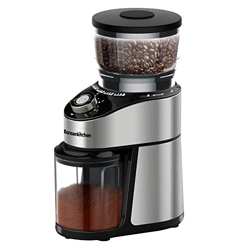 Conical Burr Coffee Grinder, Adjustable Burr Mill Electric Coffee Bean Grinder with 12 Precise Grind Settings for Espresso, Drip Coffee, Pour Over & French Press Coffee, 230g Large Capacity