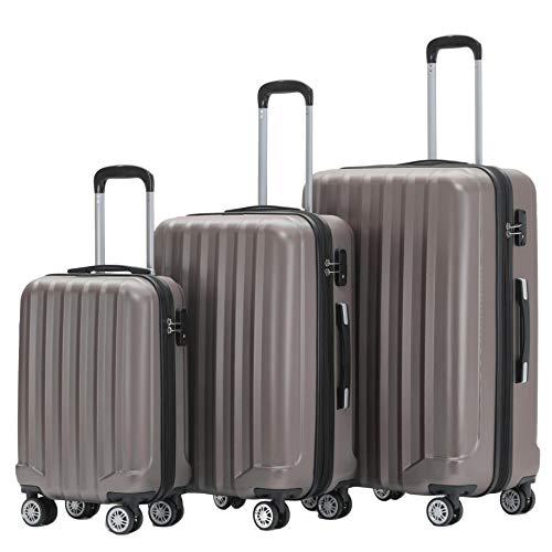 BEIBYE TSA-Schloß 2080 Zwillingsrollen 3 TLG. Reisekofferset Koffer Kofferset Trolley Trolleys Hartschale (Coffee, Set)