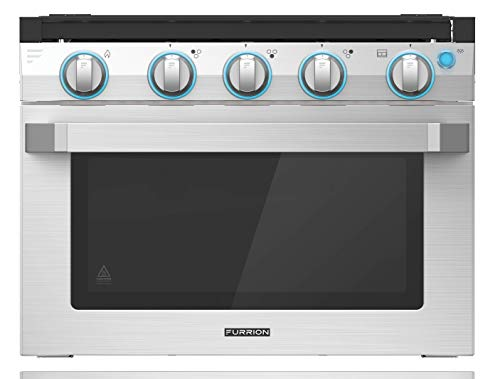 Furrion 17' 2-in-1 Gas Range Oven with 3-Burner Cooktop for RV, Camper, or Trailers. Includes multiple safety features with a sleek easy-to-clean design - FSRE17SA-SS