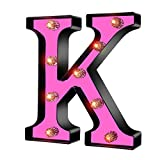 LED Light Up Marquee Letters, Battery Powered Sign Letter 26 Alphabet with Lights for Wedding Engagement Birthday Party Table Decoration bar Christmas Night Home,(Rose Red-K)