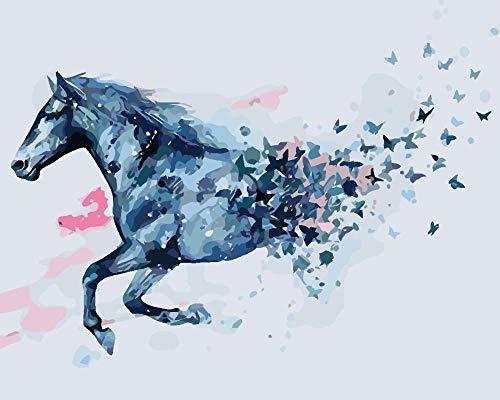 Schilderen op nummers, kits voor volwassenen kinderen blauw paard DIY olieverfschilderij met penseel en schilderij decoratie voor thuis - 40 x 50 cm zonder lijst