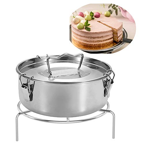 Bestine Flan Mold with Lid, Stainless Steel Flan Maker with Lid and Easy Lift Handle for 6 Quart Pot Steamer