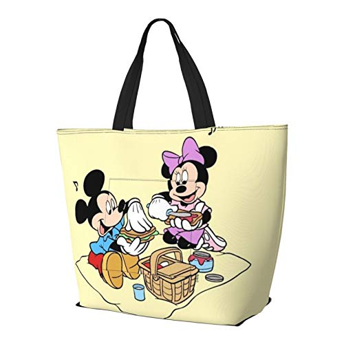 Bolsa de hombro con diseño de Mickey Minnie Mouse con dibujos animados, estilo simplicidad, gran capacidad, bolsa de compras, gimnasio, playa, viajes, unisex, plegable