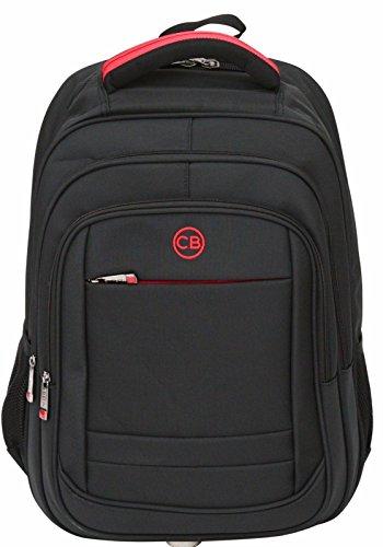 City Bag Multi Compartment Nylon Laptop Backpack - Adjustable Shoulder Straps - Black - Medium 14'