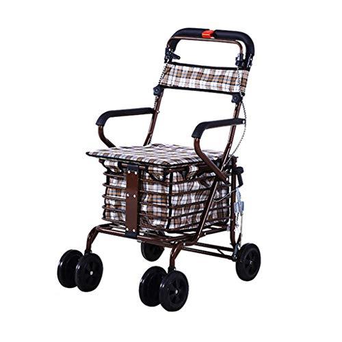RenShiMinShop Oude leeftijd stap winkelwagen vouwen winkelwagen met stoel vierwielige boodschappenwagen kan duwen kleine winkelwagen oude winkelwagen