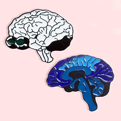 ZSCZQ Broche de Esmalte de Metal hemisferio Cerebral de órgano Misterioso Humano, científico de Moda, Doctor, Enfermera, Disfraz, Mochila, Regalos de joyería XZ027-2