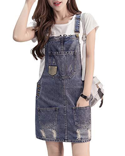 Shengwan Damen Kurze Jeanskleid Latzrock Trägerrock Verstellbarer Schultergurt Jeans Latzkleid Blau L