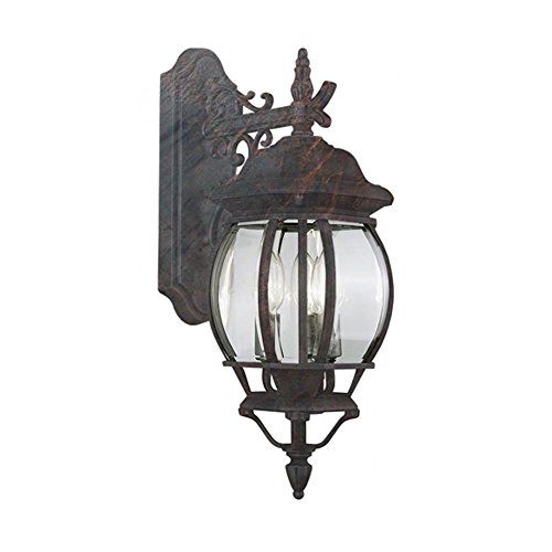 Trans Globe Imports 4054 BC Transitional Three Light Wall Lantern from Francisco Collection in Black Finish, 12.00 inches