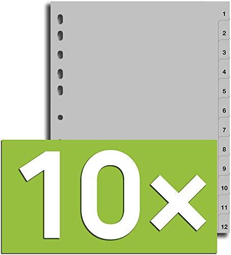 Durable Register für DIN A4, volldeckend (10er Pack - grau, 1-12)