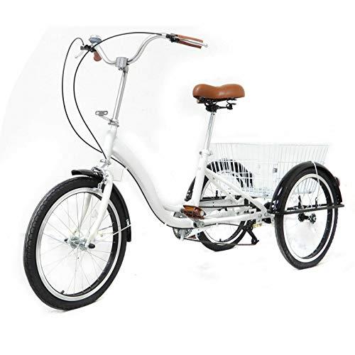 OUKANING Rower trójkołowy dla dorosłych, 20 cali, rower dla seniorów, rower dla dorosłych, biały kosz
