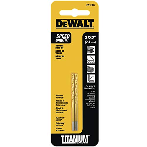 DEWALT DW1306 3/32-Inch Titanium Split Point Twist Drill Bit