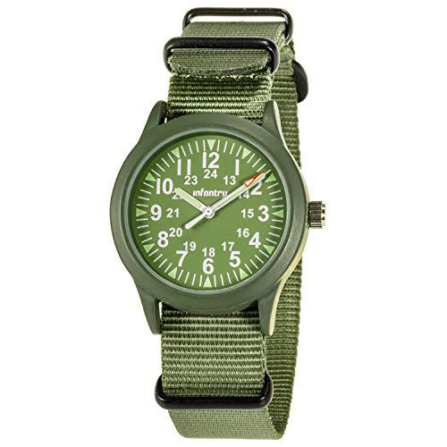 Infantry Männeruhr Arbeitsuhr Herren Armbanduhr Männer Uhren Militär Uhr Herrenarmbanduhr Grün Fliegeruhr Outdoor Armee Tactical Watch NATO Nylonband
