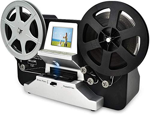 8mm & Super 8 Reels to Digital MovieMaker Film Sanner Converter, Pro Film Digitizer Machine with 2.4