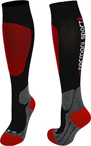 normani 2 Paar Sport Kompressions-Kniestrumpf Farbe Rot Größe 43/46