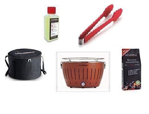LotusGrill Starter-Set 1x Grill Kupferbraun (Sonderfarbe) mit USB-Anschluß, 1x Buchenholzkohle 1kg, 1x Brennpaste 200ml, 1x Würstchenzange (Farbe nach Vorrat), 1x Transport-Tragetasche