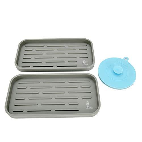 2 Stück Silikon Spülbecken Organizer für Schwämme, Bürsten, Seife, Küche Caddy Ordnungshelfer Küchenutensilienhalter–Rutschfester Schwammhalter für die Küchenspüle–Abtropfmatte aus Silikon (Grau)