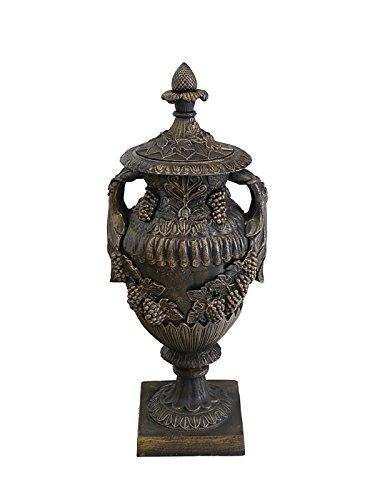 Antike Fundgrube Amphore Vase Bodenvase Gusseisen Bronze-Farbton mit Henkel Deckel H: 90cm (6354)
