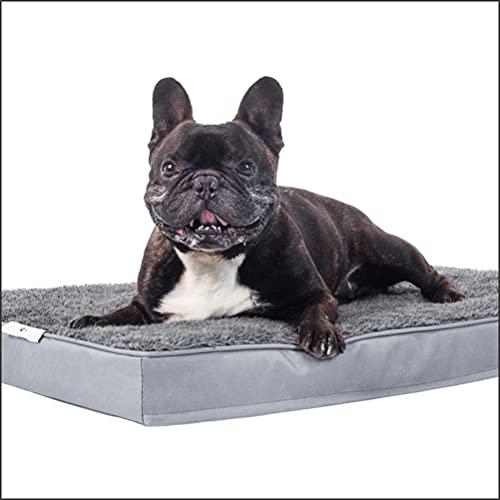 Dogoo® - Hundebett M   435gm2 Fluffy Stoff für kleine Hunde 75x50cm   Orthopädisches Kissen für Hunde, gut die Gelenke   waschbar   grau   Größe M-XL   Hundebett Hundematratze Hundematte Liegekissen