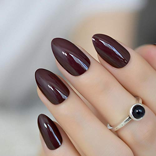 JSIYU Faux Ongles Court Ovale Solide Faux Ongles Stiletto Pointu Pure Color UV Gel Amande Porter Conseils Complets, F93 A
