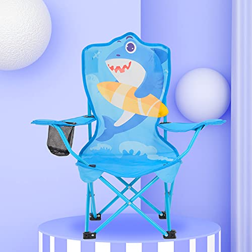 Bluu Kids Outdoor Folding Beach Chair Camping Chairs for Children with Mesh Cup Holder   Safety Lock   600D Thick Fabric & Backpack (Blue Shark)