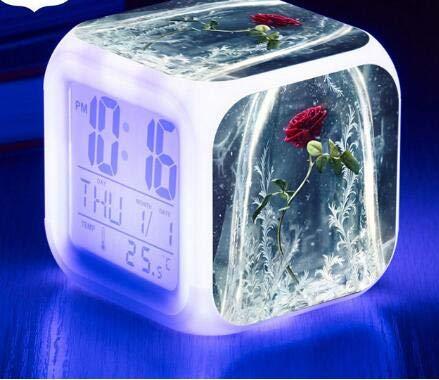 Zhuhuimin LED wekker lichtlicht klok wekker LED display klok 7 kleuren lichtgevende kleine wekker bureaulamp