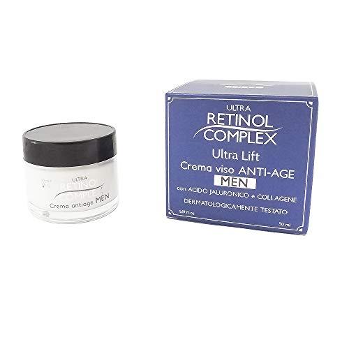 Ultra Retinol Complex - Crema facial antiedad para hombre con ácido hialurónico y colágeno, 50 ml, 12 m