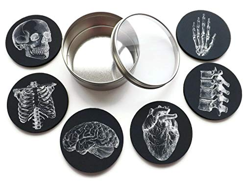 Anatomy Goth Gift Set of 4 or 6 Drink Coasters Skull Anatomical Heart Male Nurse Practitioner Doctor Physician Assistant