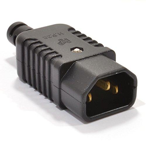 kenable Heavy Duty Rewireable IEC C14 Kettle Lead Male Inline Plug 10A 230V [C14 Male]