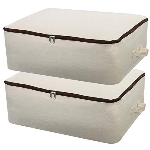 2 unidades de lona de algodón 100% natural, 12 onzas de grosor, suave y transpirable, organizador para ropa de cama, edredones, almohadas, mantas, ropa, 65 x 47 x 22 cm, beige