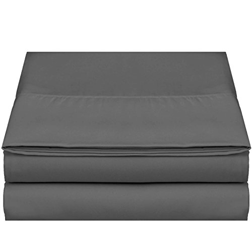 """Empyrean Bedding Premium Flat Sheet – """"110 GSM"""" Double Brushed Microfiber Extra Thick and Comfortable Flat Sheets, Luxurious & Soft Hotel Single Top Bed Sheet Hypoallergenic, Queen, Charcoal Gray"""