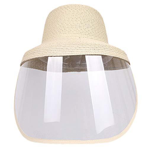 PRETYZOOM Sombrero Protector de Seguridad Protector Facial Completo Gotitas Cubierta Facial Sombrero de Sol de Verano Sombrero de Playa de Paja para Mujer Niña Tamaño de Viaje M 56-58 Cm (Beige)