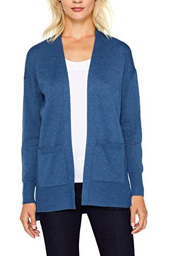 ESPRIT Damen 089Ee1I002 Strickjacke, Blau (Grey Blue 5 424), Small (Herstellergröße: S)