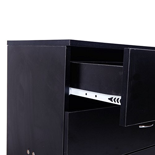 Wood Simple 4-Drawer Dresser Easy to Assemble, Chest of Drawers for The Bedroom, Living Room, Kid's Room,Black