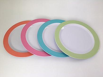 Preisvergleich für 4er Set Teller aus Melamin Ø 26 cm 4 fach farblich sortiert