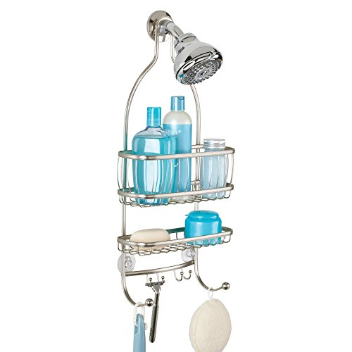 """iDesign York Metal Wire Hanging Shower Caddy, Extra Wide Space for Shampoo, Conditioner, and Soap with Hooks for Razors, Towels, and More, 10"""" x 4"""" x 22"""", Satin Silver"""